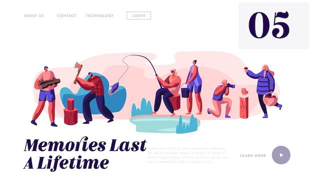 Männer und frauen entspannen, angeln, fotografieren, pilze abholen, website-landingpage-vorlage Premium Vektoren