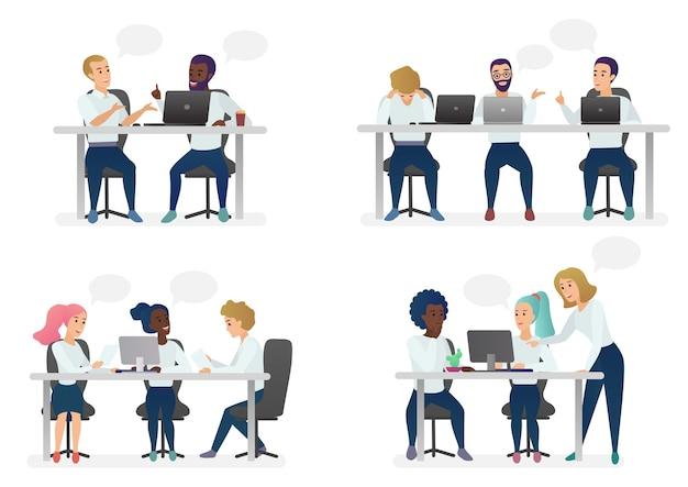 Männer und frauen sitzen, arbeiten am schreibtisch und stehen im modernen büro, arbeiten am computer und sprechen mit kollegen. Premium Vektoren