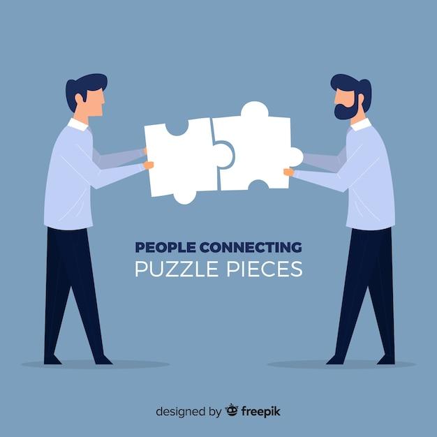 Männer verbinden puzzle stück hintergrund Kostenlosen Vektoren
