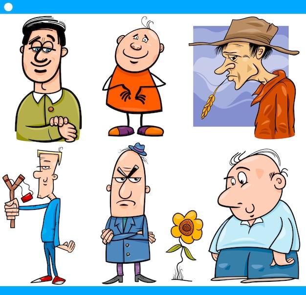 Männercharaktere stellten karikaturillustration ein Premium Vektoren