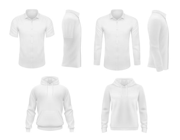 Männerkleidung hemden mit kurzen und langen ärmeln und kapuzenpullover Premium Vektoren