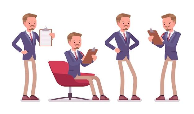 Männliche büro qualifizierte sekretärin. ein kluger mann, der eine jacke und eine schmale hose trägt, bei der arbeit hilft, beschäftigt ist und administrative arbeiten ausführt. business-arbeitskleidung. stil cartoon illustration Premium Vektoren