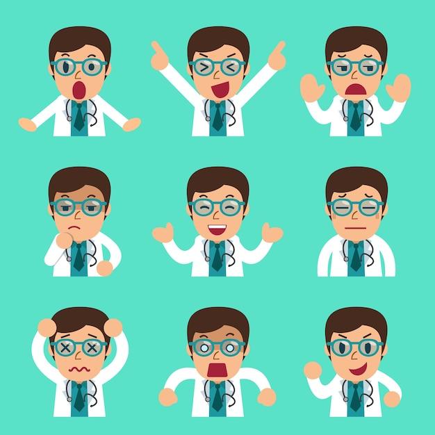 Männliche doktorgesichter der karikatur, die verschiedene gefühle zeigen Premium Vektoren