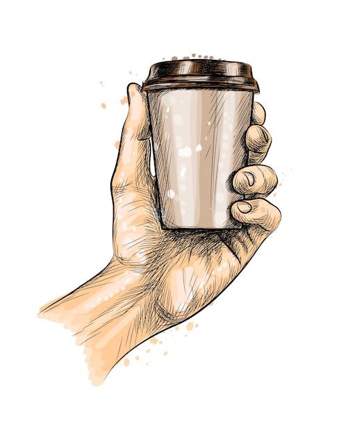 Männliche hand, die eine kaffeepapiertasse von einem spritzer aquarell, hand gezeichnete skizze hält. illustration von farben Premium Vektoren