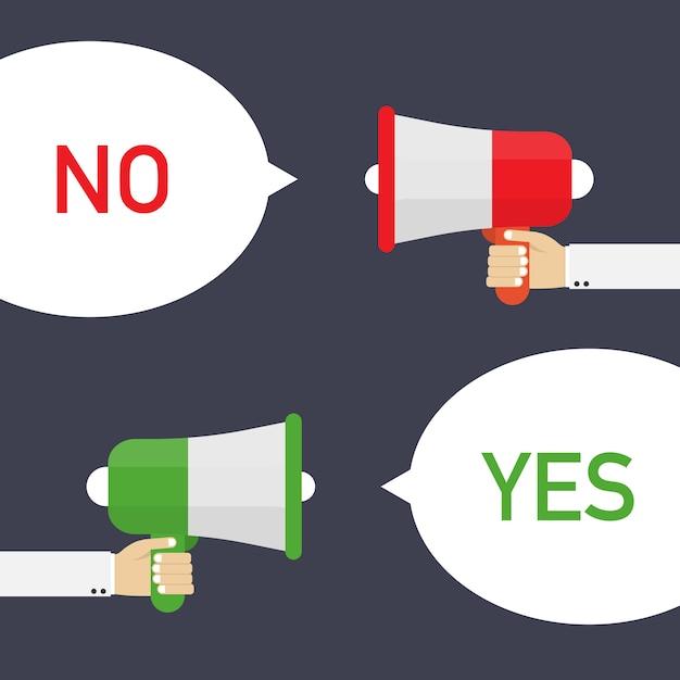 Männliche hand, die megaphon mit ja und keiner spracheblase hält. Premium Vektoren