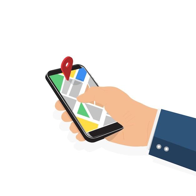 Männliche hand, die telefon mit karte und zeiger hält. mobiles gps-navigations- und tracking-konzept. flache vektorillustration für websites, banner. location track app auf dem touchscreen-smartphone Premium Vektoren