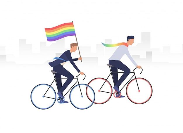 Männliche homosexuelle paarreitfahrräder Kostenlosen Vektoren