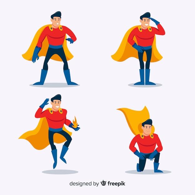 Männliche komische superheldenansammlung Kostenlosen Vektoren