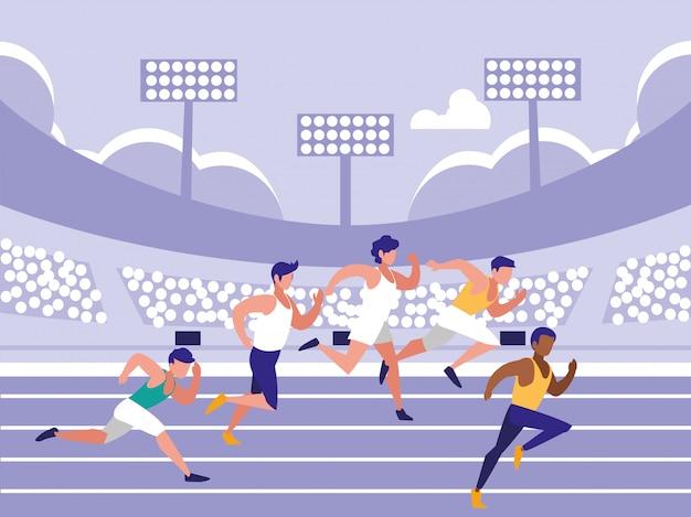Männliche leichtathletik race avatar charakter Premium Vektoren