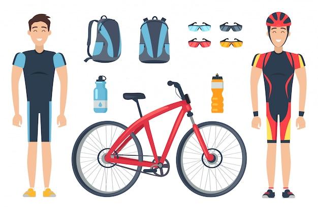 Männliche sportler in spezialkleidung in der nähe von roten fahrrädern Premium Vektoren