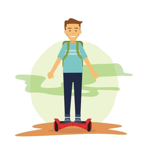Männliche studenten fahren hover board um zu pendeln Premium Vektoren