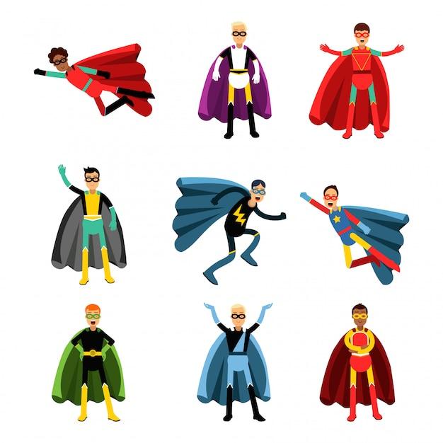 Männliche superhelden in verschiedenen kostümen bunt eingestellt Premium Vektoren