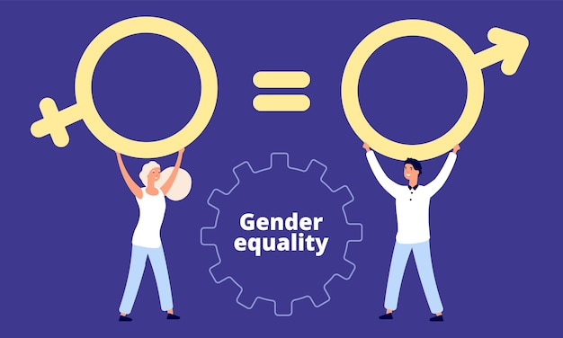 Männliche und weibliche charaktere mit sexzeichen Premium Vektoren