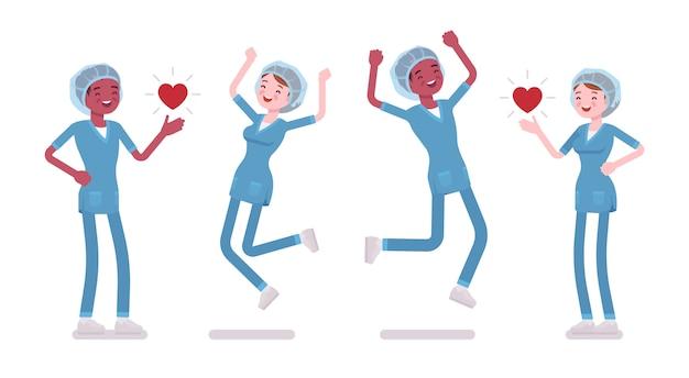 Männliche, weibliche krankenschwester in positiven emotionen. junge arbeiter in krankenhausuniform glücklich bei der arbeit, genießen arbeit, karriere. medizin, gesundheitswesen. stilkarikaturillustration, weißer hintergrund Premium Vektoren