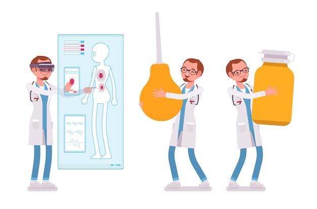 Männlicher arzt. mann in der krankenhausuniform, die riesenspritze, pillen hält, vr diagnose macht. medizin- und gesundheitskonzept. stilkarikaturillustration auf weißem hintergrund Premium Vektoren