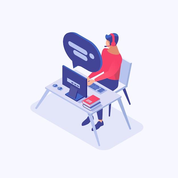 Männlicher berater der kundenbetreuung, marketingspezialist, händler, büroangestellter am charakter des arbeitsplatzes 3d Premium Vektoren