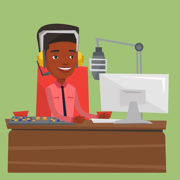 Männlicher dj, der an der radioillustration arbeitet Premium Vektoren