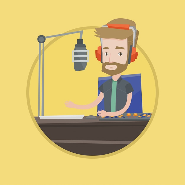 Männlicher dj, der an der radiovektorillustration arbeitet Premium Vektoren