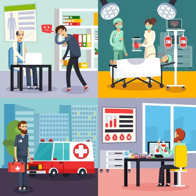Männlicher doktor character flat icon set Kostenlosen Vektoren