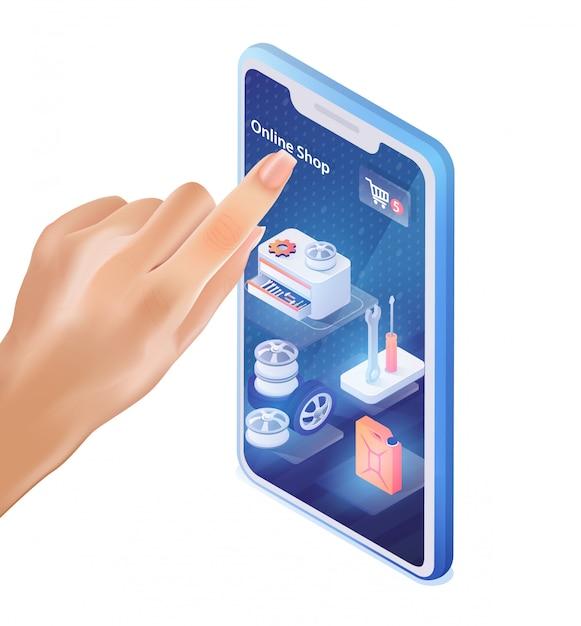 Männlicher finger klickt auf mobile application car shop Premium Vektoren