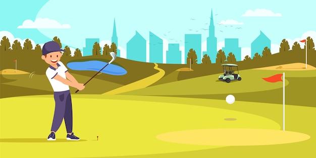 Männlicher golfspieler, der t-stück auf golfplatz ausrichtet. Premium Vektoren