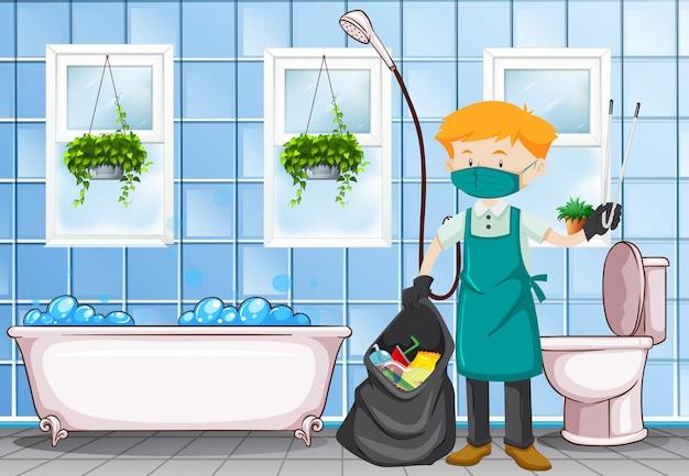 Männlicher hausmeister, der die toilette säubert Kostenlosen Vektoren