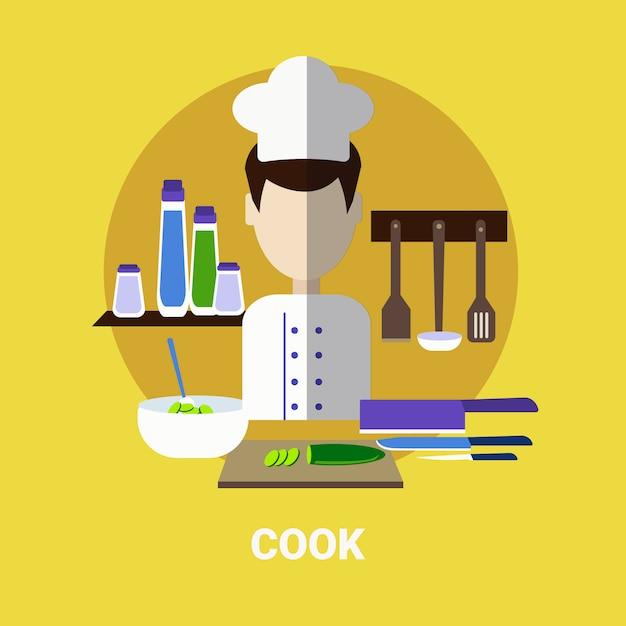 Männlicher koch, der mahlzeit-profil-avatar-ikone kocht Premium Vektoren