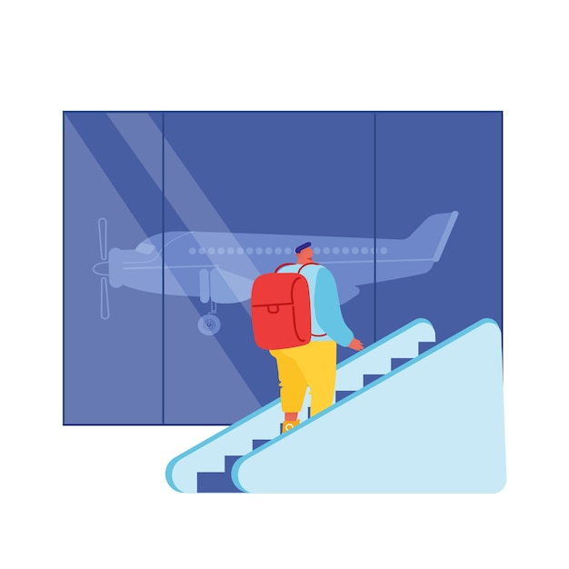 Männlicher passagiercharakter mit rucksack, der durch bewegen der treppe im innenraum des abflugterminals der flughafenhalle nach oben geht. Premium Vektoren