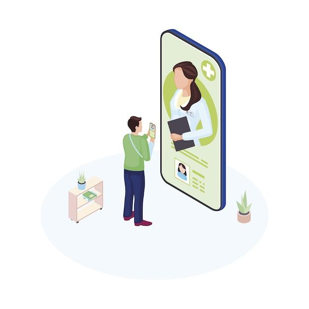 Männlicher patient, der mit persönlichem facharzt kommuniziert Premium Vektoren