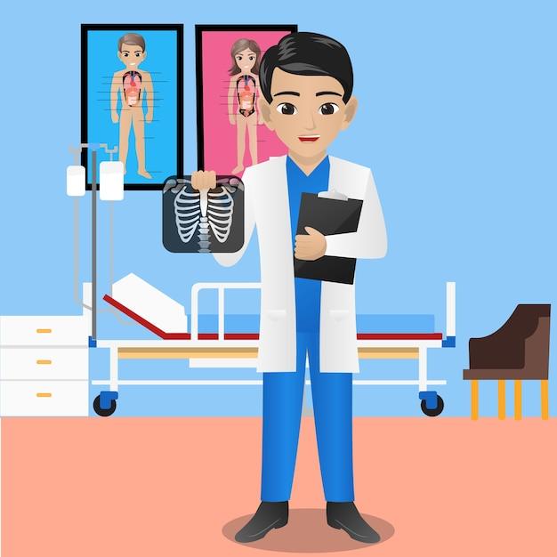 Männlicher radiologe, der röntgenaufnahme und klemmbrett hält Premium Vektoren