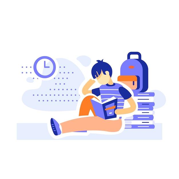 Männlicher student, der bücher sitzt und liest, bildungsprogramm, lernliteratur, alphabetisierungskonzept, fleißiger junge, flache illustration Premium Vektoren