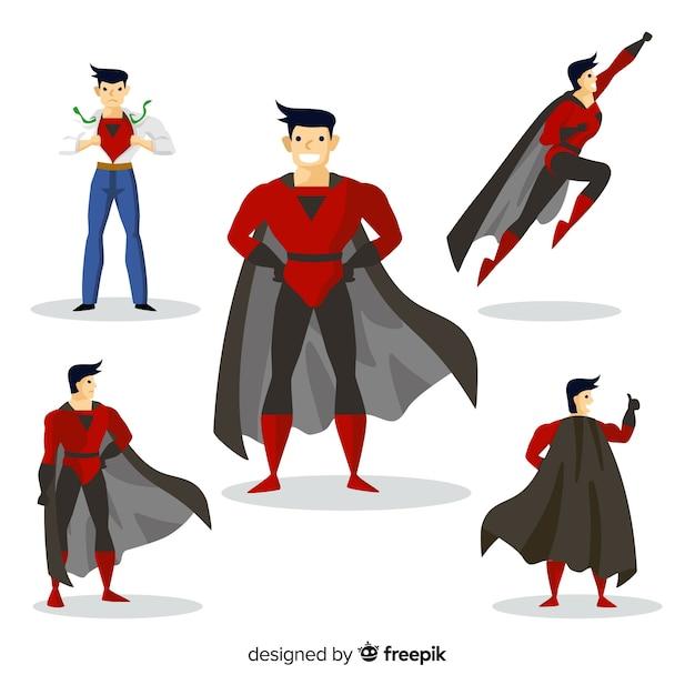 Männlicher superheld collectio Kostenlosen Vektoren