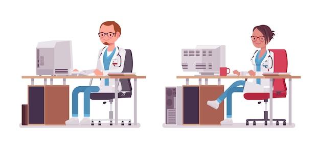 Männlicher und weiblicher arzt, der am schreibtisch mit computer arbeitet. menschen in krankenhausuniform sms. medizin- und gesundheitskonzept. stilkarikaturillustration auf weißem hintergrund Premium Vektoren
