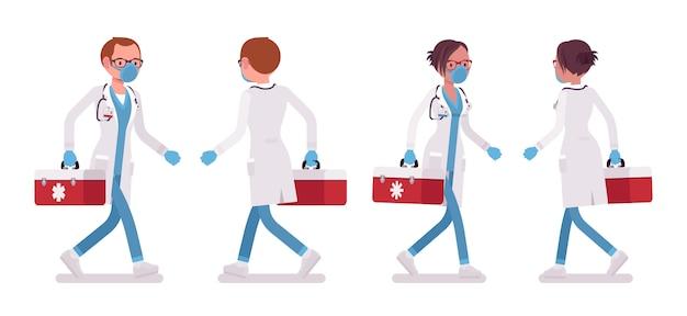 Männlicher und weiblicher arzt gehen. mann und frau in krankenhausuniform mit roter box. medizin- und gesundheitskonzept. stilkarikaturillustration auf weißem hintergrund, vorderansicht, rückansicht Premium Vektoren