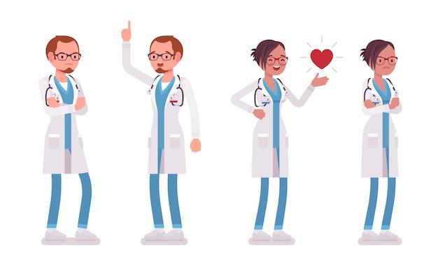 Männlicher und weiblicher arzt stehend. mann und frau in der krankenhausuniform, die unterschiedliche gefühle und stimmung haben. medizin, gesundheitskonzept. stilkarikaturillustration auf weißem hintergrund Premium Vektoren