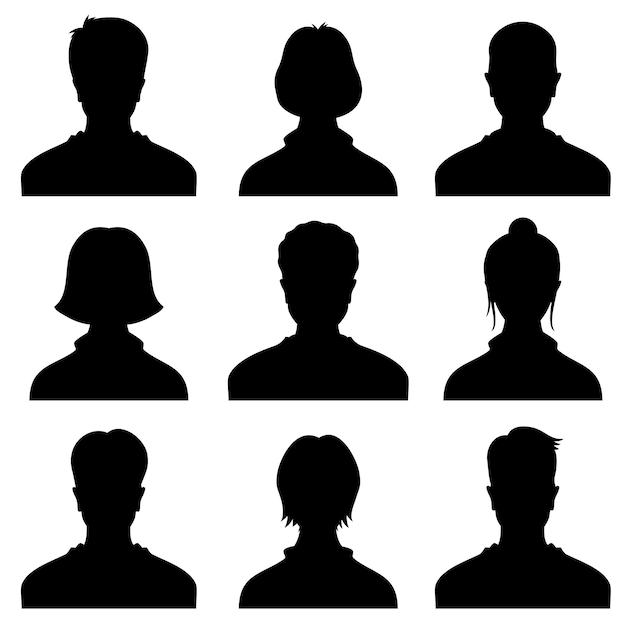 Männlicher und weiblicher kopf silhouettiert avatara, profilvektorikonen, leuteportraits Premium Vektoren