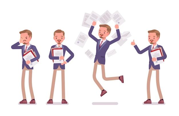 Männliches büro, das bei der papierarbeit hilft Premium Vektoren