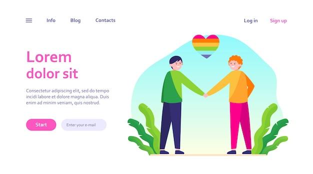 Männliches schwules paar mit regenbogenherz. fröhliche männer, die hände webschablone halten. Kostenlosen Vektoren