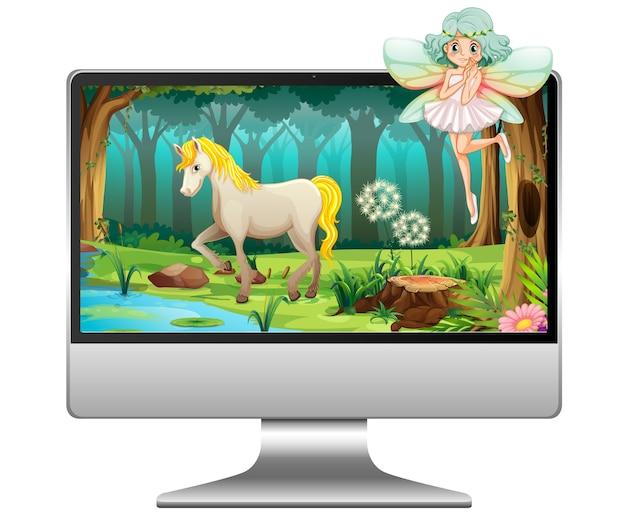 Märchen am computer isoliert Premium Vektoren