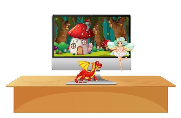 Märchen auf dem computerbildschirm Kostenlosen Vektoren