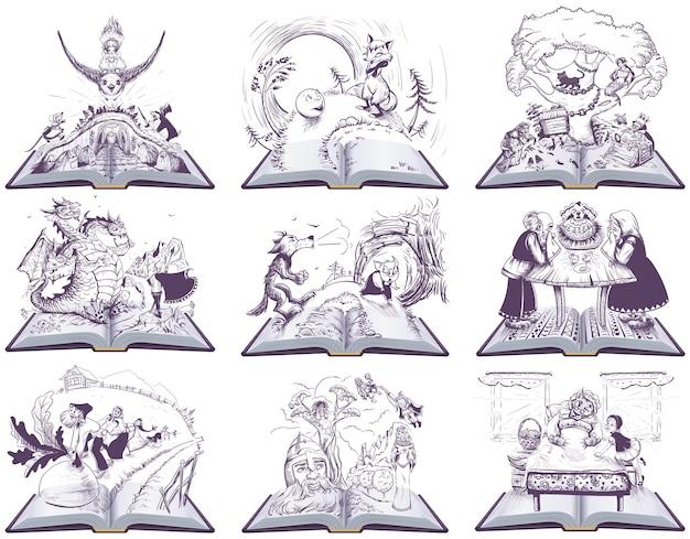 Märchen offenes buch illustration. zeichnungssatz. auf weiß isoliert Premium Vektoren