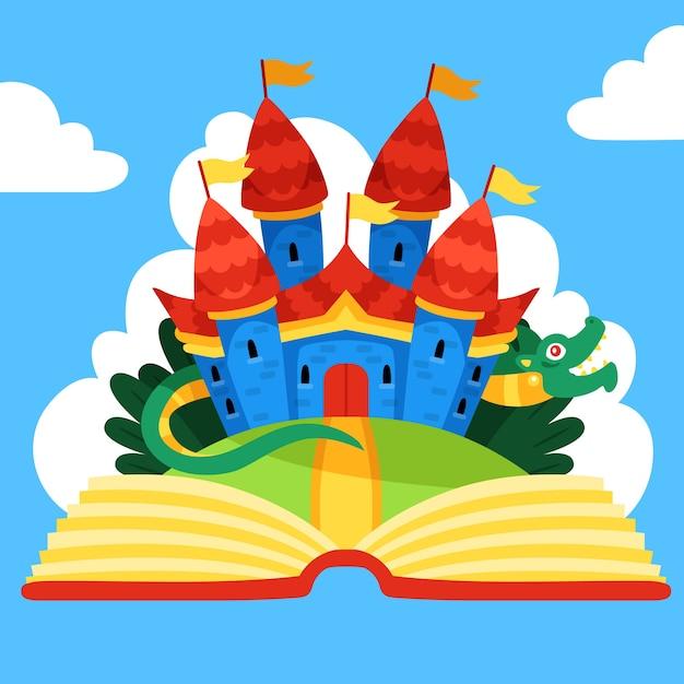 Märchenhafte magische burg und drache Kostenlosen Vektoren