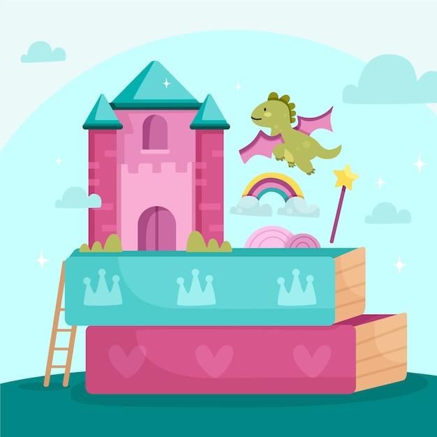 Märchenkonzept mit drachen und burg Kostenlosen Vektoren