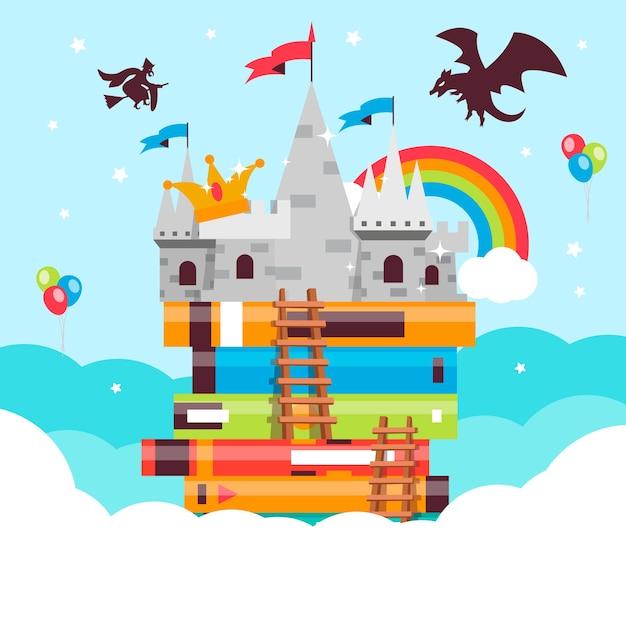 Märchenkonzept mit drachen und regenbogen über schloss Kostenlosen Vektoren