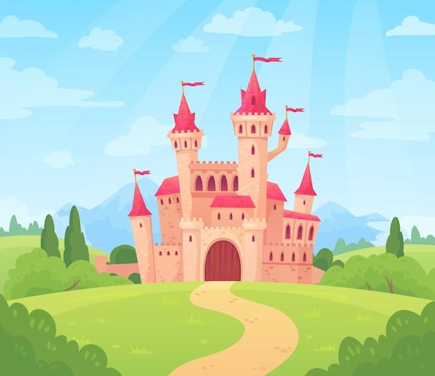 Märchenlandschaft mit schloss. fantasiepalastturm, fantastisches feenhaftes haus oder magische schlosskönigreichkarikatur Premium Vektoren