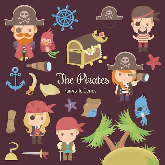 Märchenserie der piraten Premium Vektoren