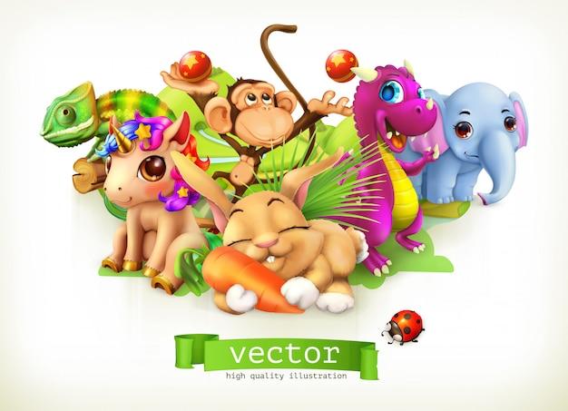 Märchentiere. glücklicher hase, kaninchen, niedliches einhorn, kleiner drache, elefantenbaby, affe, chamäleon. 3d Premium Vektoren