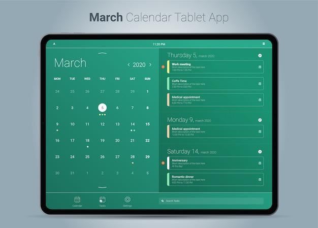März kalender tablet app-oberfläche Premium Vektoren