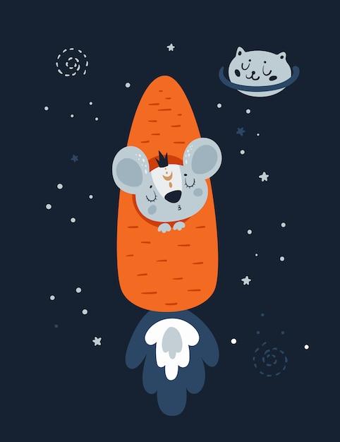 Mäusemäuseratte in der karottenrakete und im katzenplaneten im raum. Premium Vektoren