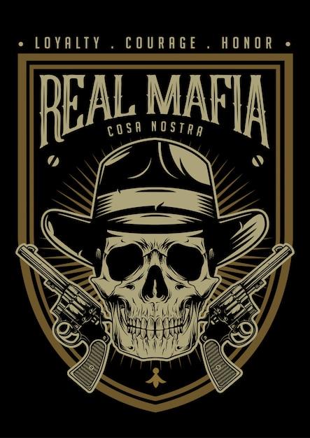 Mafia-schädel mit pistolen-emblem Premium Vektoren